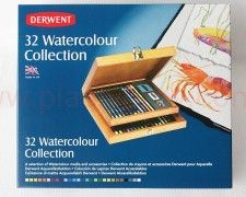 Komplet Watercolour Collection Derwent 32 elem. w drewnianej kasecie