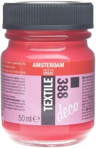 Farba do malowania na tkaninie Amsterdam Deco Textile Talens nr 388 bright red opaque 50 ml