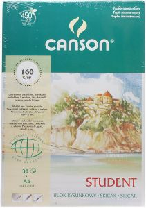 Blok rysunkowy fakturowany Canson Student 160g/m A5 30 ark
