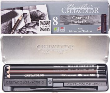 Cretacolor charcoal pocket set zestaw 8 węgli