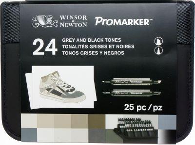 Winsor&Newton Promarker zestaw grey and black tones 24 szt, etui
